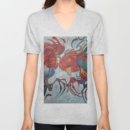 Farmyard Roosters Unisex V-Neck