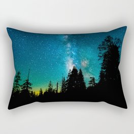 Blue White Milky Way Galaxy At Night Stars At Night Black Trees Silhouette Rectangular Pillow