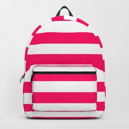 Bright Fluorescent Pink Neon and White Large Horizontal Cabana Tent Stripe Backpack