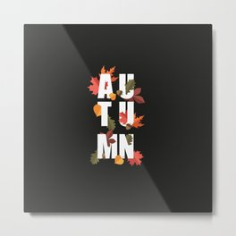 Autumn word and leaves WHITE Metal Print