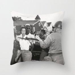 Gloria Richardson pushing a National Guardsman's bayonet, 1963 Throw Pillow