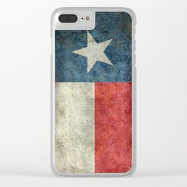 Texas state flag, Vertical retro vintage Clear iPhone Case