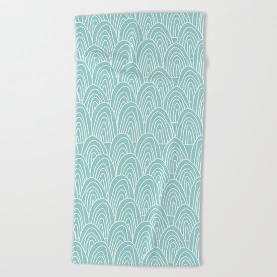 Blue Scribbles Pattern 09 Beach Towel