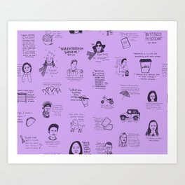 Gilmore Girls Quotes in Purple Art Print