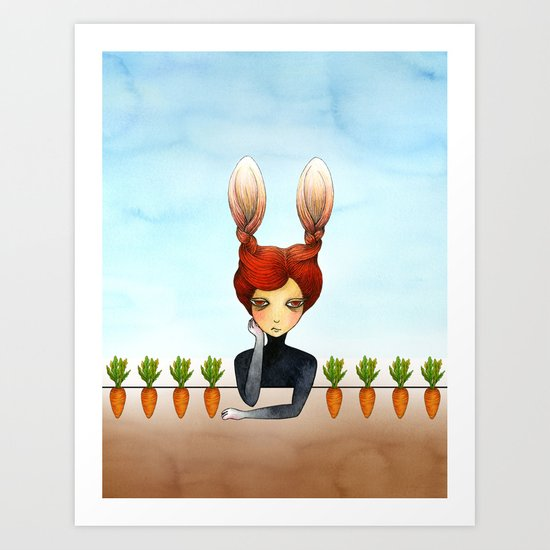 the rabbit girl with planted carrots Art Print