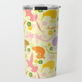Animals Exotic Pastel Colors Shapes Pattern Travel Mug