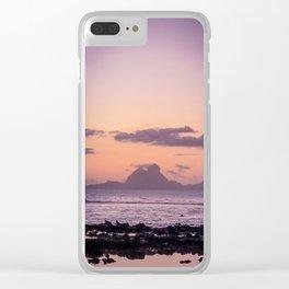 Bora Bora Island Sunset of Pink and Purple Clear iPhone Case