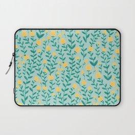 Emerald green and Yellow Minimal Retro Flowers Pattern Laptop Sleeve