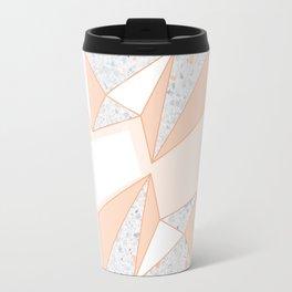 Geometric Nude Color Terrazzo Abstract Design Travel Mug