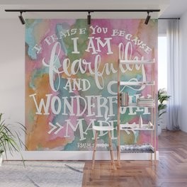 Fearfully and Wonderfully Made - Watercolor Scripture by Misty Diller Wall Mural
