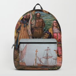 Columbus Landing in America Painting (1892) Backpack