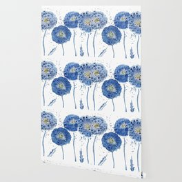 four blue dandelions watercolor Wallpaper