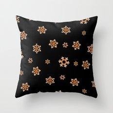 Snowflakes (Orange on Black) Throw Pillow