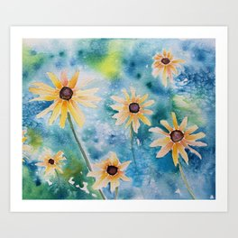 """""""Summertime"""" Loose yellow coneflowers watercolor paintng Art Print"""