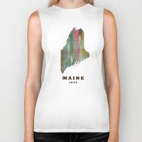 maine Biker Tanks featuring Maine state map modern by bri.buckley