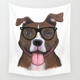 Hipster Pit Bull Wall Tapestry