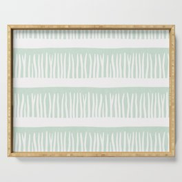 Abstract Blades of Grass in Mint Serving Tray