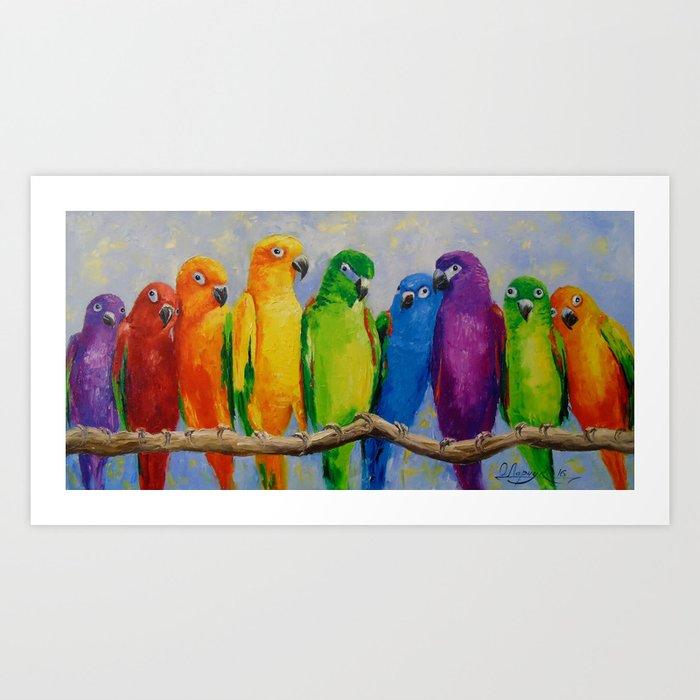 A flock of parrots, Art Print