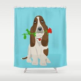 Basset Hound Dog in Love Shower Curtain