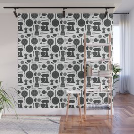 Kitchen Tools (black on white) Wall Mural
