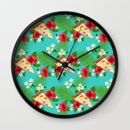 Hawaiian Pizza in a Hawaiian Print Wall Clock