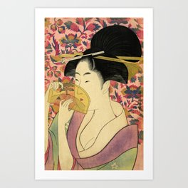 Japanese Art Print - Japanese Woman - Kushi Utamaro Art Print
