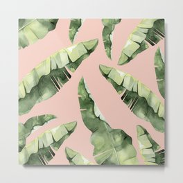 Banana Leaves 2 Green And Pink Metal Print