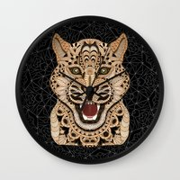 leopard Wall Clocks featuring Leopard by ArtLovePassion