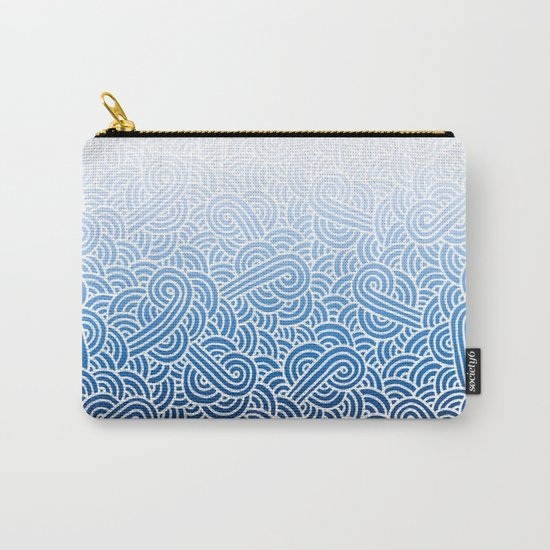 Ombre blue and white swirls doodles Carry-All Pouch