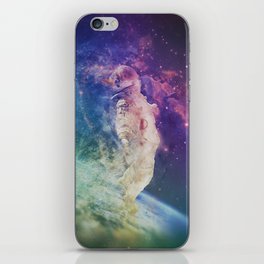Astronaut dissolving through space iPhone Skin