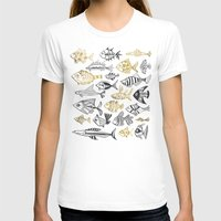 black and gold T-shirts featuring Inked Fish – Black & Gold by Cat Coquillette