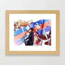asuna kirito back to back with background Framed Art Print