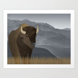 Bison Gray Mountains Art Print