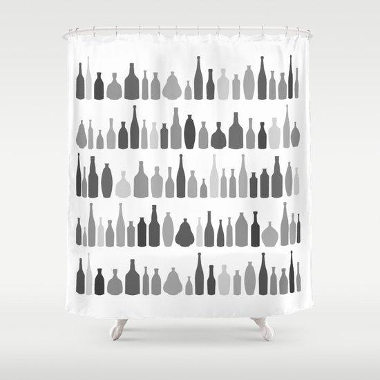 Bottles Black and White on White Shower Curtain
