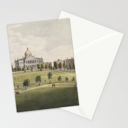 Vintage Illustration of The Boston Commons (1829) Stationery Cards