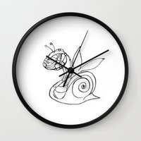 snail Wall Clocks featuring Snail. by sonigque