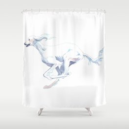 The Completely White Saluki  Shower Curtain