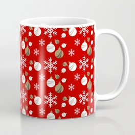 Christmas Ornaments in Red and White Coffee Mug