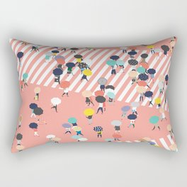 Crossing The Street On a Rainy Day Rectangular Pillow