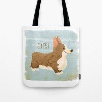 corgi Tote Bags featuring Corgi by 52 Dogs
