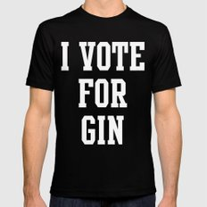 I VOTE FOR GIN Mens Fitted Tee MEDIUM Black