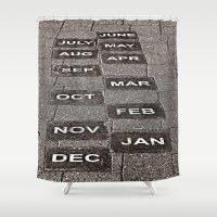 calendar Shower Curtains featuring Calendar Walk by Ethna Gillespie