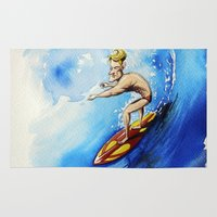 surfer Area & Throw Rugs featuring Surfer by Jose Luis Ocana