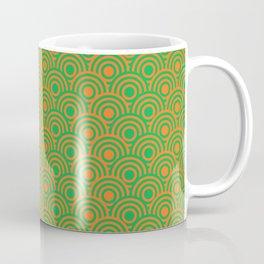 op art pattern retro circles in green and orange Coffee Mug