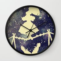haunted mansion Wall Clocks featuring Haunted by Kayleigh Kirkpatrick