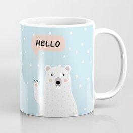 Cute Polar Bear in the Snow says Hello Coffee Mug
