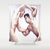 teen titans Shower Curtains featuring battle of titans by arnedayan
