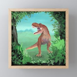 T-Rex Dinosaur Roar Framed Mini Art Print