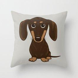 Chocolate Dachshund   Cute Cartoon Wiener Dog Throw Pillow