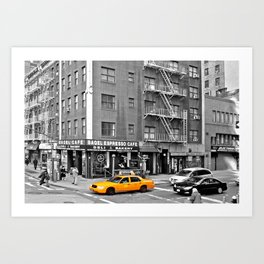 NYC - Yellow Cabs - Bagel Cafe Art Print